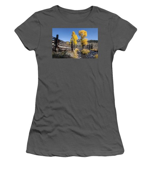 Women's T-Shirt (Junior Cut) featuring the photograph Autumn At The Lamar Buffalo Ranch by Jack Bell