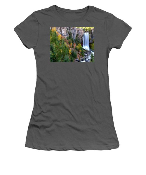 Women's T-Shirt (Junior Cut) featuring the photograph Autumn Colors Surround Tumalo Falls by Kevin Desrosiers