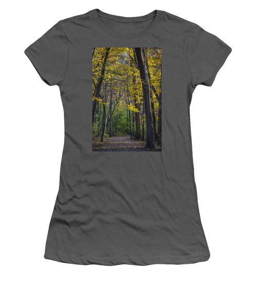 Women's T-Shirt (Junior Cut) featuring the photograph Autumn Trees Alley by Sebastian Musial