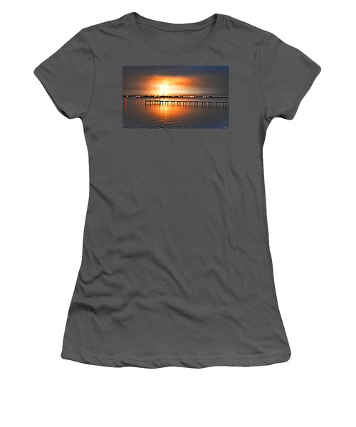 Women's T-Shirt (Junior Cut) featuring the photograph Awesome Lightning Electrical Storm On Sound by Jeff at JSJ Photography