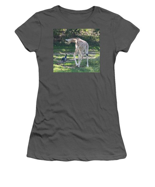Baby Giraffe And Peacock Out For A Walk Women's T-Shirt (Junior Cut) by John Telfer