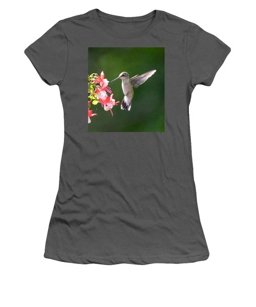 Backlit Fuchsia And Hummer Women's T-Shirt (Athletic Fit)