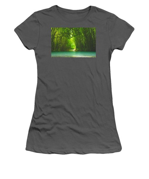 bamboo path to  Blue Lagoon  Women's T-Shirt (Athletic Fit)