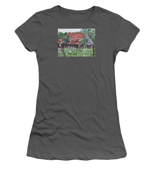 Barn In Montana Women's T-Shirt (Athletic Fit)