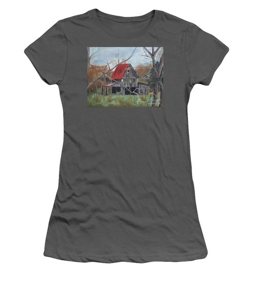 Women's T-Shirt (Junior Cut) featuring the painting Barn - Red Roof - Autumn by Jan Dappen