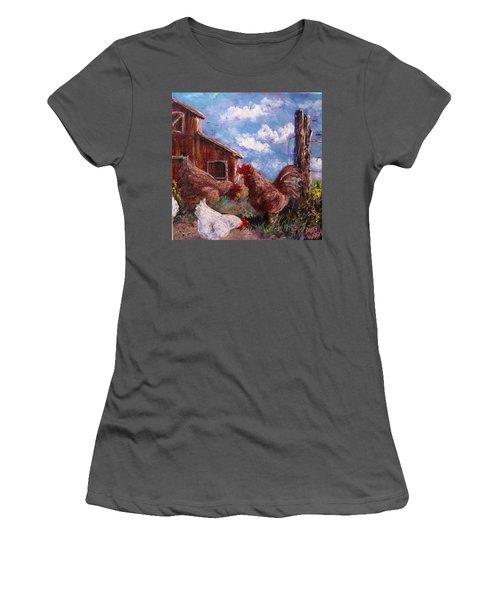 Women's T-Shirt (Junior Cut) featuring the painting Barnyard by Megan Walsh