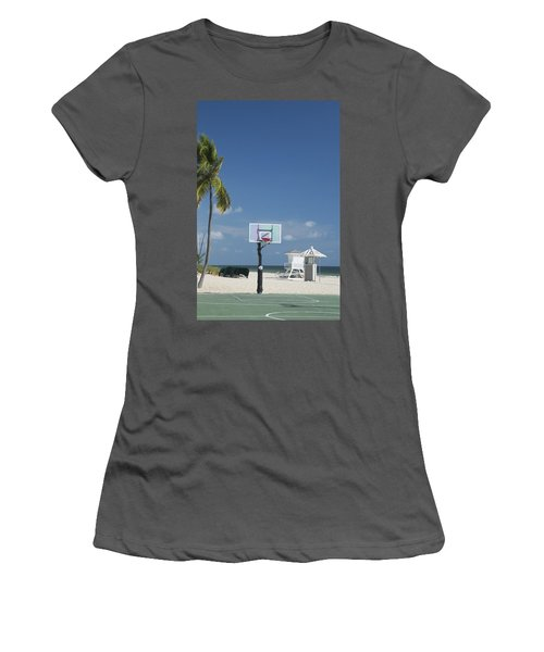 Basketball Goal On The Beach Women's T-Shirt (Athletic Fit)