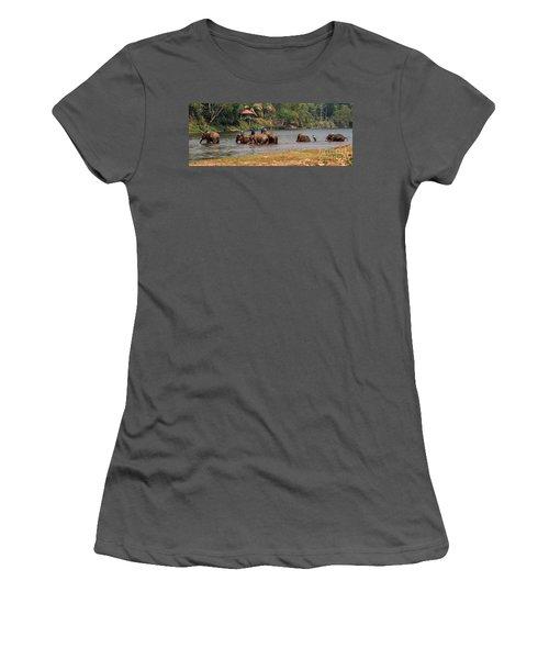 Women's T-Shirt (Junior Cut) featuring the photograph Bath Time by Vivian Christopher