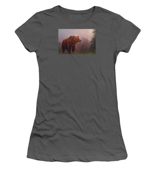 Women's T-Shirt (Junior Cut) featuring the painting Bear In The Mist by Donna Tucker
