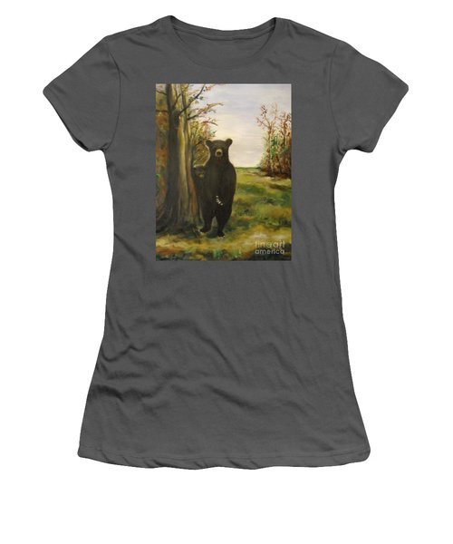 Women's T-Shirt (Athletic Fit) featuring the painting Bear Necessity by Laurie L