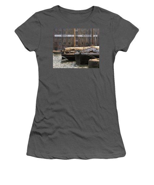 Women's T-Shirt (Junior Cut) featuring the digital art Biddle Warehouse by Ron Harpham