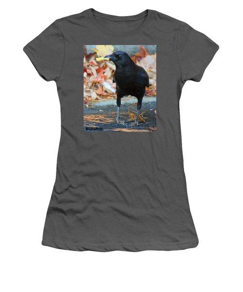 Big Daddy Crow Leaf Picker Women's T-Shirt (Junior Cut) by Lesa Fine