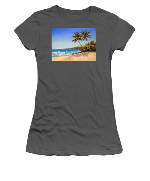 Hawaiian Beach Seascape - Big Island Getaway  Women's T-Shirt (Athletic Fit)