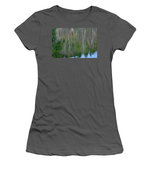 Birch Trees Reflected In Pond Women's T-Shirt (Athletic Fit)