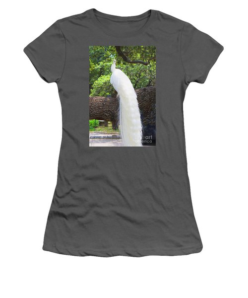 Bird - White Peacock Pose- Luther Fine Art Women's T-Shirt (Athletic Fit)