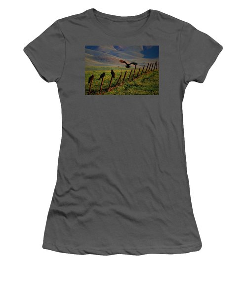 Women's T-Shirt (Junior Cut) featuring the photograph Birds On A Fence by Matt Harang