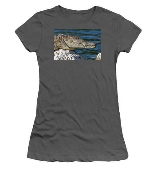 Women's T-Shirt (Junior Cut) featuring the photograph Biscayne National Park Florida American Crocodile by Paul Fearn