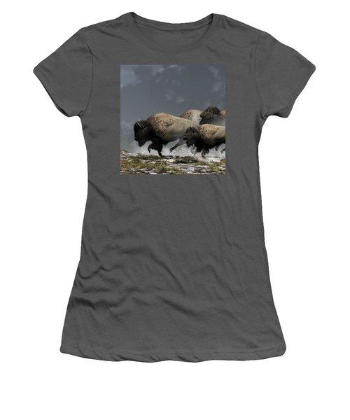 Bison Stampede Women's T-Shirt (Athletic Fit)