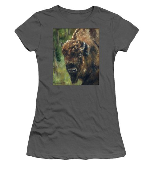 Bison Study - Zero Three Women's T-Shirt (Junior Cut) by Lori Brackett