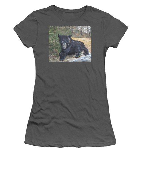 Women's T-Shirt (Junior Cut) featuring the painting Black Bear - Wildlife Art -scruffy by Jan Dappen