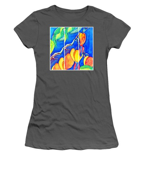 Bleeding Hearts Tryptic - Digital Artwork From Original Watercolor Painting Women's T-Shirt (Athletic Fit)