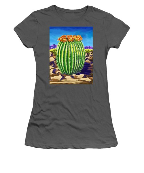 Women's T-Shirt (Junior Cut) featuring the painting Blooming Barrel Cactus by Tim Gilliland