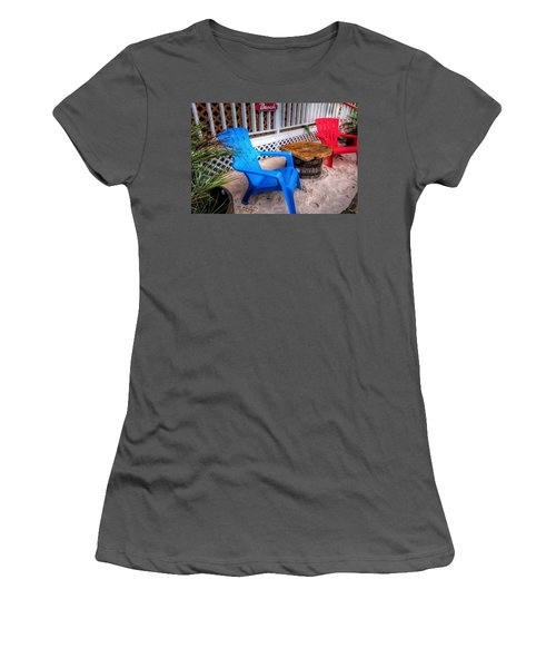 Blue And Red Chairs Women's T-Shirt (Junior Cut) by Michael Thomas