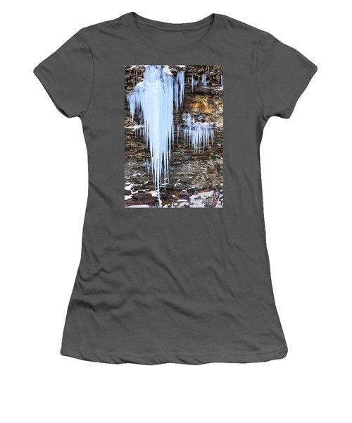 Blue Frozen Icicle Stalactites Women's T-Shirt (Athletic Fit)