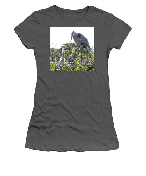 Women's T-Shirt (Junior Cut) featuring the photograph Blue Heron Family by Ron Davidson