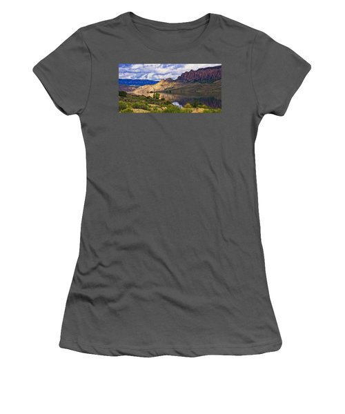 Blue Mesa Reservoir Digital Painting Women's T-Shirt (Athletic Fit)