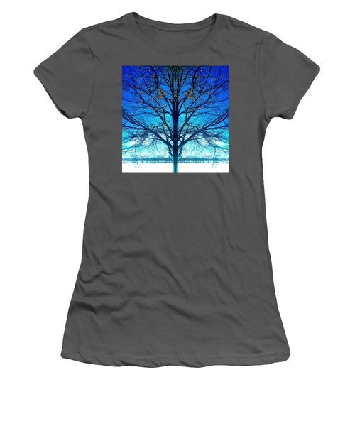 Blue Winter Tree Women's T-Shirt (Athletic Fit)