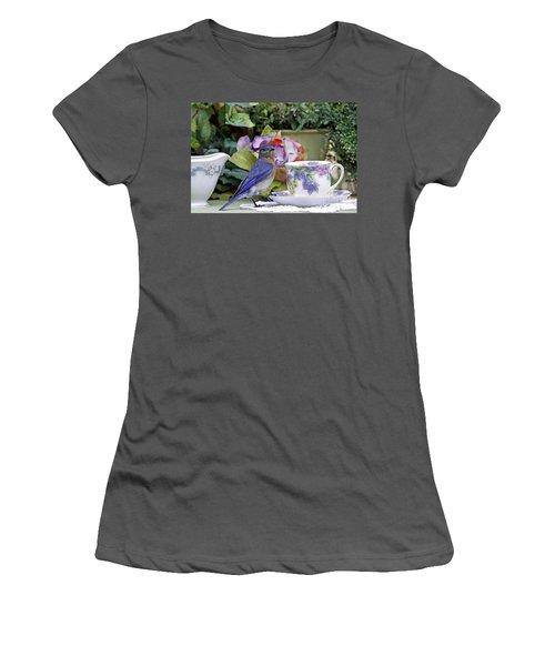 Bluebird And Tea Cups Women's T-Shirt (Junior Cut) by Luana K Perez