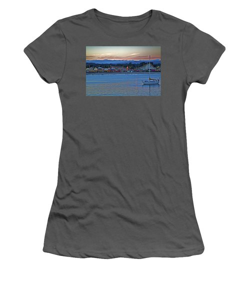 Boat At Dusk Santa Cruz Boardwalk Women's T-Shirt (Athletic Fit)
