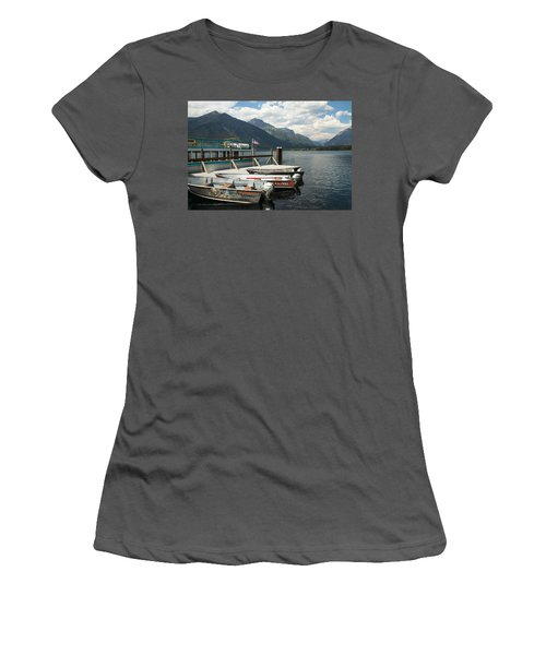 Boats On Lake Mcdonald Women's T-Shirt (Athletic Fit)