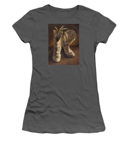 Women's T-Shirt (Junior Cut) featuring the painting Boots And Wheat by Kim Lockman
