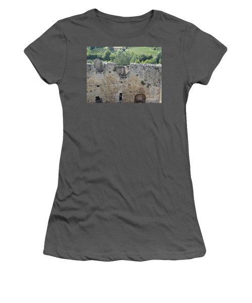 Women's T-Shirt (Junior Cut) featuring the photograph Bordeaux Castle Ruins With Vineyard by HEVi FineArt
