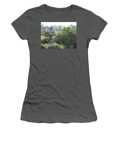 Women's T-Shirt (Junior Cut) featuring the photograph Bordeaux Village Cloud Of Smoke  by HEVi FineArt
