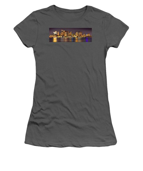 Boston Skyline At Night Panorama Women's T-Shirt (Athletic Fit)