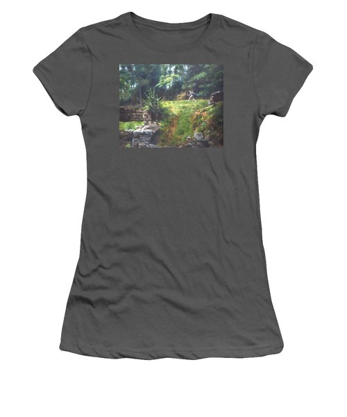 Women's T-Shirt (Junior Cut) featuring the painting Bouts Of Fantasy by Lori Brackett