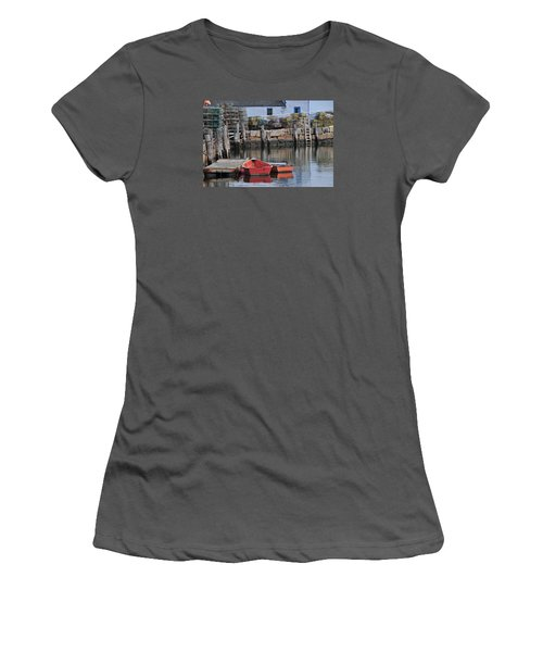 Women's T-Shirt (Junior Cut) featuring the photograph Bradley Wharf Dinghies by Mike Martin