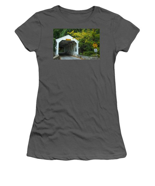 Women's T-Shirt (Junior Cut) featuring the photograph Bridge On Route 252 In Valley Forge by Rima Biswas