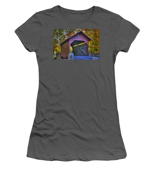 Bridge To The Past Roddy Road Covered Bridge-a1 Autumn Frederick County Maryland Women's T-Shirt (Junior Cut) by Michael Mazaika