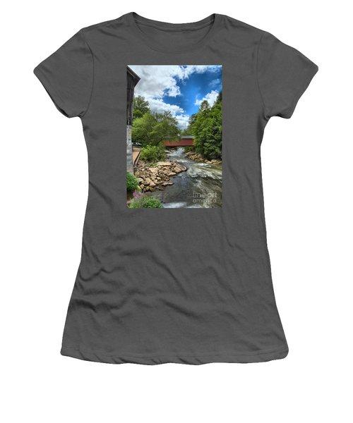 Bridging Slippery Rock Creek Women's T-Shirt (Athletic Fit)