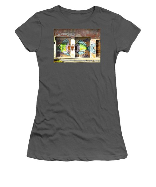 Brightly Colored Fish Mural Women's T-Shirt (Junior Cut) by Anne Mott