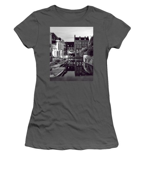 Bruges Canal In Black And White Women's T-Shirt (Athletic Fit)
