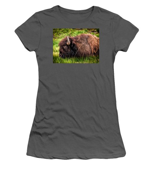 Women's T-Shirt (Junior Cut) featuring the painting Buffalo Cat Nap by Michael Pickett