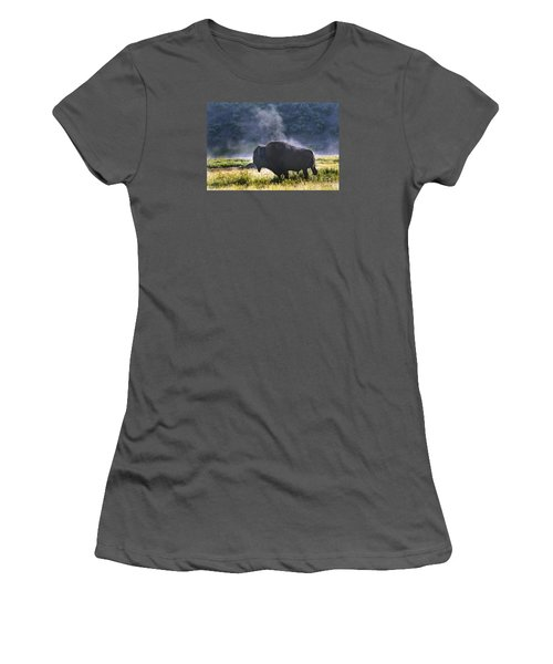 Buffalo Steam-signed-#2170 Women's T-Shirt (Junior Cut) by J L Woody Wooden