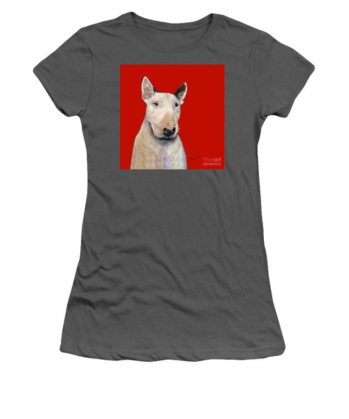 Bull Terrier On Red Women's T-Shirt (Athletic Fit)
