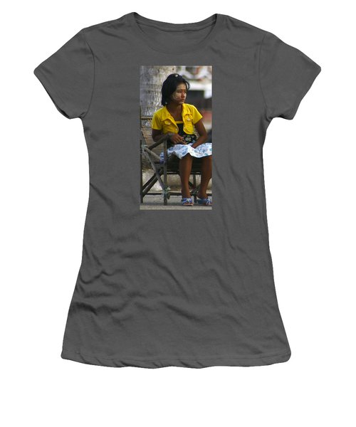 Burmese Girl With Traditional Thanaka Face Painting Sitting On Chair Yangon Myanmar Women's T-Shirt (Athletic Fit)