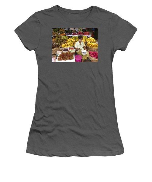 Burmese Lady Selling Colourful Fresh Fruit Zay Cho Street Market 27th Street Mandalay Burma Women's T-Shirt (Athletic Fit)